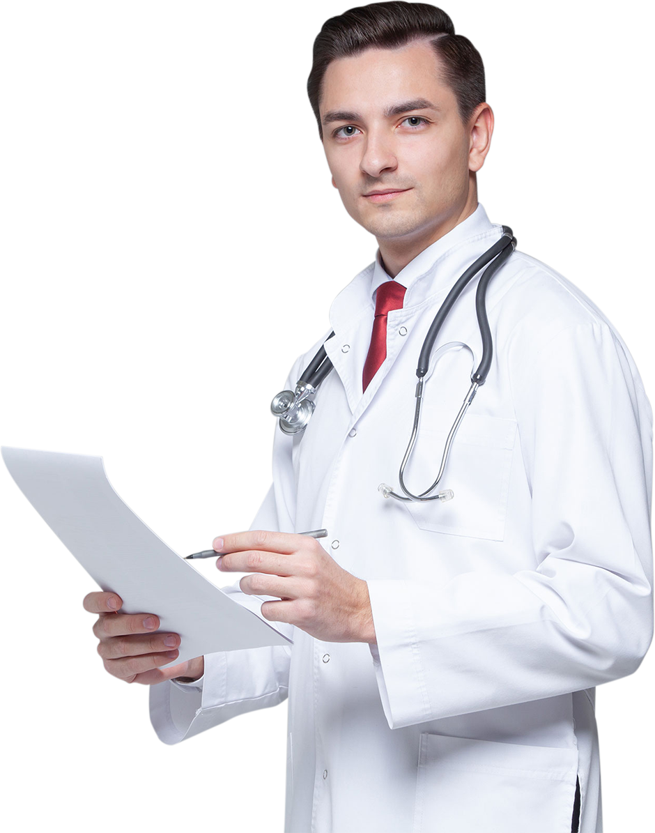 image of a doctor holding a report